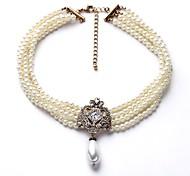 abordables -Collier de perles Femme Multirang Imitation de perle dames Elégant simple Blanc 40+8 cm Colliers Tendance Bijoux 1pc pour Quotidien Costumes de cosplay Irrégulier