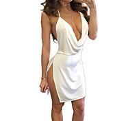 abordables -Femme Robe à Bretelles Robe courte courte Blanche Noir Rouge Vin Vert Véronèse Sans Manches Fendu chaud Sexy S M L XL