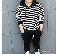 abordables -Bébé Garçon Ensemble de Vêtements Rayé Manches Longues Coton Noir Bleu basique