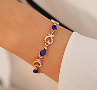 abordables -Bracelet en cristal Femme Ouvert Cristal Cœur Coeur creux Mode Doux Bracelet Bijoux Noir Violet Rouge pour Rendez-vous Anniversaire
