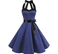 economico -Audrey Hepburn A pois Vestiti Retrò vintage Stile anni '50 vestito da vacanza Estate Vestiti Rockabilly Abito da ballo Per donna Costume Bianco / Nero / Rosso Vintage ▾ Cosplay Rimpatriata di classe