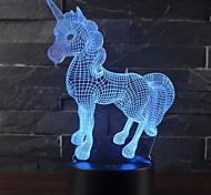 abordables -Belle licorne cadeau romantique 3D Ampoules LED lampe de table 7 changement de couleur veilleuses nuit lumière chambre décor lustre vacances petite amie enfants jouets