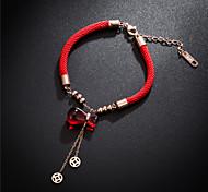 abordables -Bracelet Bracelet de bonne chance Acier au titane Pour Femme Rondes dames Style Simple Mode Soirée Quotidien Haute qualité Corde chaîne de corde rouge Chanceux Bracelet de souhait 1pc