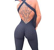 abordables -Femme Combinaison Fitness Lifting des fesses plissées Blanche Noir Violet Spandex Yoga Aptitude Exercice Physique Taille haute Legging Le Maillot de corps Combinaison Sport Tenues de Sport Contrôle