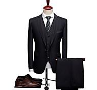 abordables -Noir Avec motifs Coupe Sur-Mesure Laine / Polyster Costume - Cranté Droit 1 bouton / Droit 2 boutons / costumes
