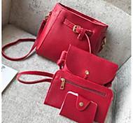 economico -Per donna Sacchetti PU sacchetto regola Set di borse da 4 pezzi Tinta unica Quotidiano Set di sacchetti Nero Blu Rosso Mandorla
