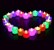 abordables -24pcs Ampoules LED bougie thé lumière batterie alimenté lampe simulation couleur flamme clignotant maison mariage fête d'anniversaire décoration bougies