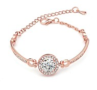 abordables -Femme Classique Cristal Clair Pas cher Mode Bracelet Bijoux Or rose Champagne Argent Forme de Cercle pour Quotidien Rendez-vous