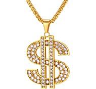 economico -Per uomo Zirconi Collane con ciondolo catena franco dollari Di tendenza Hip Hop Ghiacciato Acciaio inossidabile Moneta d'oro Moneta d'argento Nero Blu Oro 55 cm Collana Gioielli 1 pc Per Regalo