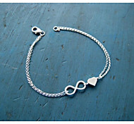 abordables -Chaînes Bracelets Femme Chaîne unique Cœur Elégant simple Bracelet Bijoux Argent Forme Géométrique pour Quotidien Festival