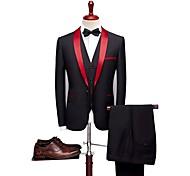 abordables -Noir Couleur Pleine Coupe Sur-Mesure Mélange de laine / Polyster Costume - Col Châle Droit 1 bouton / costumes
