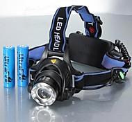 abordables -Lampes Frontales Phare Avant de Moto Imperméable Rechargeable 1200 lm LED LED 1 Émetteurs 3 Mode d'Eclairage avec Piles Imperméable Fonction Zoom Rechargeable Ajustable Camping / Randonnée