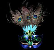 abordables -Masque Masque vénitien Masque de plumes Inspiré par Princesse Cosplay Violet Vert Fête / Soirée Halloween Carnaval Mascarade Adulte Femme / Demi Masque