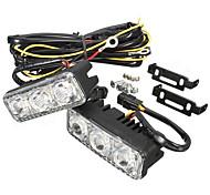 abordables -paire led voiture blanche drl& ambre clignotant lampe de jour conduite courante