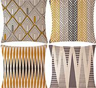 economico -4 pezzi di fodera per cuscino in cotone / lino, divano per la casa classico tradizionale quadrato rustico geometrico