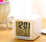 economico -LED Sveglia Bianco Plastica Batterie AAA alimentate Illuminazione Orologio sveglia