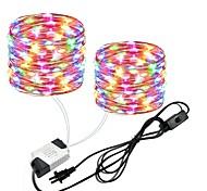 economico -zdm 2x10m 66ft 2x100leds luci filo di rame impermeabile stringa fata eu us spina con interruttore uso diretto ac85-265v