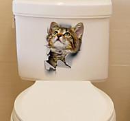 abordables -adorable stickers muraux de toilette chat - mots& amp cite des stickers muraux personnages salle d'étude / bureau / salle à manger / cuisine 25 * 17cm