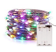economico -zdm luci filo di rame fata stringa 5m 16.5ft 50leds con 7 colori diversi cambia RGB luci di striscia di natale automaticamente impermeabili aa custodia batteria (cambio automatico di colore)