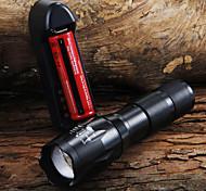 abordables -UltraFire LED Flashlights Lampes Torches LED 1600 lm LED LED 7 Émetteurs 5 Mode d'Eclairage avec Pile et Chargeur Fonction Zoom Faisceau Ajustable Camping / Randonnée / Spéléologie Usage quotidien