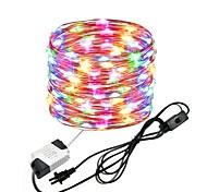 economico -zdm 10m 33ft 100leds luci filo di rame impermeabile stringa fata eu us plug con interruttore uso diretto ac85-265v