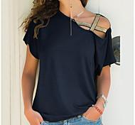 economico -Per donna maglietta Tinta unita Trasparente Senza spalline Monospalla Top Cotone Essenziale Top basic Nero Blu Viola