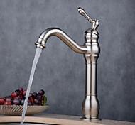 economico -rubinetto monocomando per lavabo da bagno, oro rosa / nero / oro spazzolato / ottone antico / nichel rustico rubinetto elettrodeposto a un foro diffuso con acqua calda e fredda