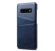 abordables -teléfono Funda Para Samsung galaxia Funda Trasera Funda de cuero S9 S9 Plus S8 Plus S8 S10 S10 + Galaxy S10 E Soporte de Coche Color sólido Dura piel genuina