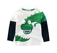 economico -Bambino Da ragazzo maglietta Blusa Manica lunga Dinosauro Con stampe Con stampe Giallo Beige Cotone Bambini Top Primavera Estate Essenziale Scuola Sport Standard