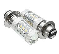 abordables -paire 10-30v px15d 16led 80w 6500k moto brouillard de conduite drl phare ampoule
