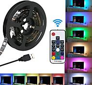 abordables -KWB 1m Bande lumineuse LED Ruban LED Ensemble de Luminaires 60 LED SMD5050 10mm Télécommande 17 touches 1 set RGB USB Connectible Dégradé de Couleur 5 V