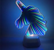 abordables -1x 3d licorne en forme de tunnel effet de lumière coloré nuit lampe aa batterie alimenté décor à la maison led lightinga0006