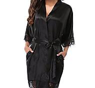 abordables -Femme Dentelle Robe de chambre Satin & Soie Costumes Vêtement de nuit Couleur Pleine Blanche / Noir / Rouge S M L