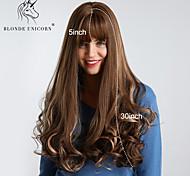 abordables -Perruque Synthétique Boucle rebondissante Ondulation Lâche Avec Frange Perruque Très long Marron Cheveux Synthétiques 30 pouce Femme Synthétique Meilleure qualité Cheveux Colorés Marron foncé BLONDE
