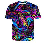 economico -Per uomo maglietta Pop art Astratto Con stampe Manica corta Quotidiano Top Blu Rosso Oro