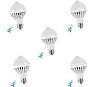 economico -5 pezzi 5 W Lampadine LED smart 300-450 lm E26 / E27 10 Perline LED SMD 5730 Con sensore Smart Sensore a infrarossi Bianco 85-265 V / RoHs