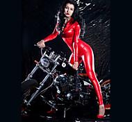 abordables -Combinaison Morphsuit Combinaison-pantalon Costume de peau Fille de moto Adulte Similicuir Latex Costumes de Cosplay justaucorps Femme Couleur Pleine Halloween Carnaval