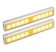abordables -2 pcs 1 w 100lm 10led perles capteur de lumière capteur infrarouge facile installer led sous les lumières de l'armoire blanc chaud blanc armoire maison / bureau / cuisine