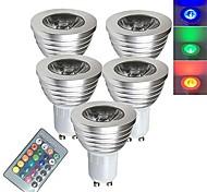 abordables -5 pièces 3 W Spot LED Ampoules LED Intelligentes 250 lm E14 GU10 GU5.3 1 Perles LED SMD 5050 Elégant Intensité Réglable Commandée à Distance RGBW 85-265 V