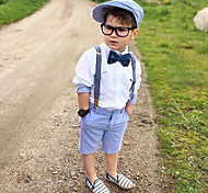 economico -Bambino Bambino (1-4 anni) Da ragazzo Camicia e pantaloncini Completo 3 pezzi Manica lunga Bianco Bianco Tinta unita Monocolore Nodo della cravatta Feste Scuola Attivo Essenziale Casuale 3 - 6 anni