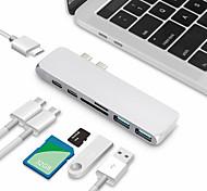 economico -USB C Adattatore Tutto-in-1 <1 m / 3 piedi Alluminio Per Macbook Xiaomi MI Samsung Appendini per cellulare