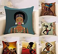 abordables -6 pcs Coton / Lin Taie d'oreiller, Nouveauté Classique Peinture à l'Huile Antique Style artistique