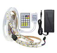 abordables -Bandes lumineuses bicolores à double LED 5m 2835 smd 600leds bandes flexibles blanches chaudes et froides blanches avec contrôleur de clé ir24 ou kit adaptateur