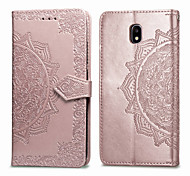 economico -telefono Custodia Per Samsung Galaxy Integrale Custodia in pelle Custodia flip J3 Porta-carte di credito Con chiusura magnetica Tinta unica Morbido pelle sintetica