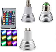 abordables -1pc 3 W Spot LED 300 lm E14 GU10 E26 / E27 1 Perles LED SMD Intensité Réglable Commandée à Distance Décorative RGB 85-265 V