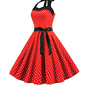 economico -Per donna Abito linea A Abito al ginocchio Blu Rosso Rosa Azzurro Senza maniche A pois Con stampe All'americana Stile anni '50 caldo Vintage ▾ S M L XL XXL