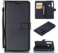 economico -telefono Custodia Per Samsung Galaxy Integrale Custodia in pelle A5(2018) A6 (2018) A6+ (2018) A3 A5 A8 2018 A8+ 2018 A5(2016) A3(2016) A7 Porta-carte di credito Con supporto Tinta unica Resistente