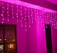 abordables -La lumière de rideau de glaçons de 4m 96 LED avec la fonction de mémoire peut être liée à la chaîne lumineuse blanc bleu blanc chaud rose violet multicolore US-110-120V et EU 220V-240V