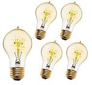 economico -5 pezzi 40 W E26 / E27 A60(A19) Bianco caldo 2200-2300 k Retrò / Oscurabile / Decorativo Incandescente Vintage Edison Lampadina 220-240 V