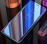 economico -telefono Custodia Per Samsung Galaxy Per retro Custodia in pelle Custodia flip S10 S10 + Galaxy S10 E A specchio Con chiusura magnetica Auto sospendione / riattivazione Tinta unica Resistente pelle